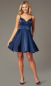 Image of short PromGirl wide-v-neck homecoming dress. Style: TE-PL-4118 Detail Image 1