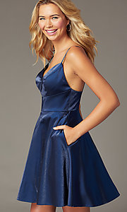 Image of short PromGirl wide-v-neck homecoming dress. Style: TE-PL-4118 Front Image