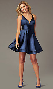 Image of short satin v-neck party dress by PromGirl. Style: TE-PL-4087 Front Image