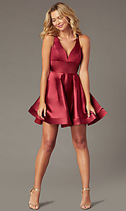 Image of short satin v-neck party dress by PromGirl. Style: TE-PL-4087 Detail Image 2