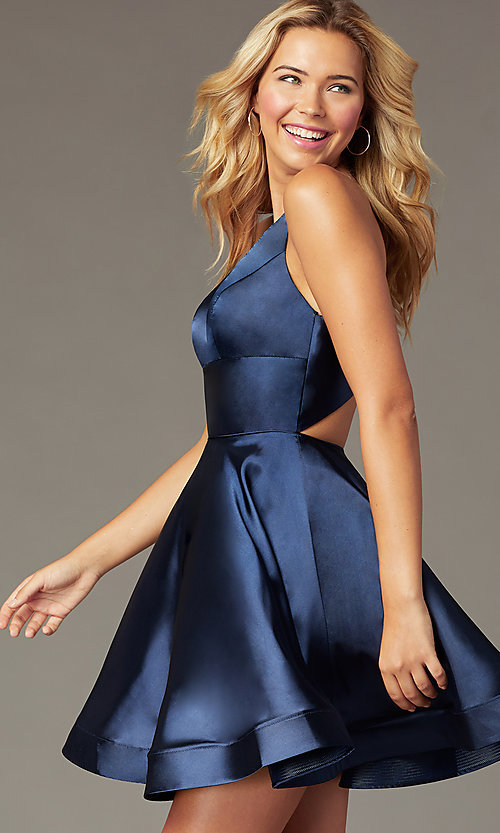Image of short satin v-neck party dress by PromGirl. Style: TE-PL-4087 Detail Image 1