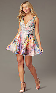 Image of short watercolor-print party dress by PromGirl. Style: TE-PL-4212 Front Image