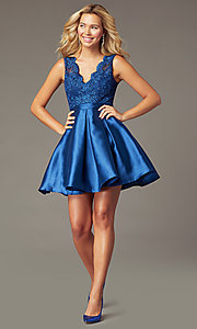 Image of PromGirl short navy blue taffeta homecoming dress. Style: LP-PL-26473 Front Image