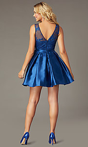Image of PromGirl short navy blue taffeta homecoming dress. Style: LP-PL-26473 Back Image