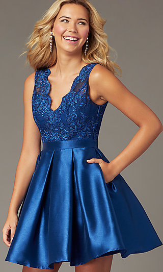 PromGirl Short Navy Blue Taffeta Homecoming Dress