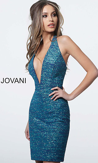 Short Glitter Designer Homecoming Dress by Jovani