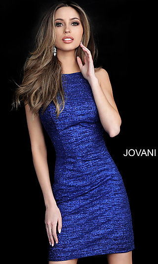 Short High-Neck Glitter Homecoming Dress by Jovani