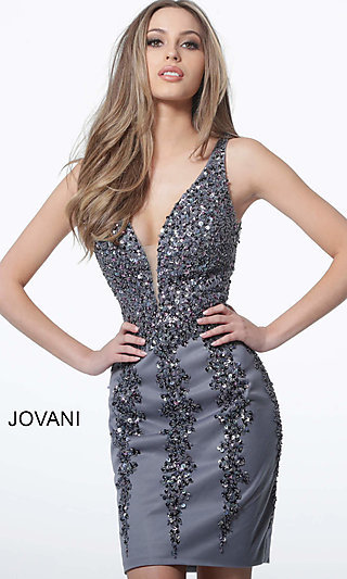 Short Sleeveless Homecoming Dress with an Open Back