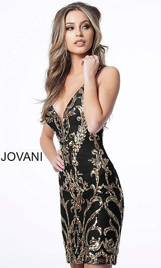Short Jovani Homecoming Dress with a Sequin Pattern
