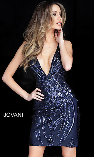 Short Sequin-Patterned Open-Back Homecoming Dress