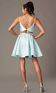 Image of short taffeta homecoming party dress by PromGirl. Style: FB-PL-GS2844 Detail Image 1
