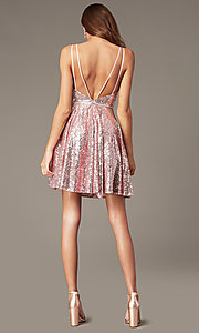 Image of short sequin v-neck mauve hoco dress by PromGirl. Style: FB-PL-GS2848 Detail Image 3