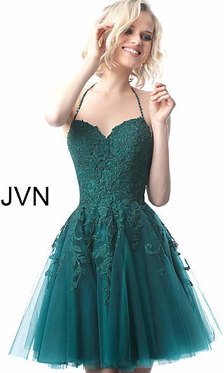 Short Babydoll Embroidered Homecoming Dress
