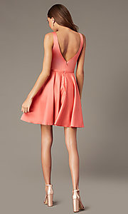 Image of coral pink short homecoming dress with pockets. Style: FB-GS2854 Detail Image 2
