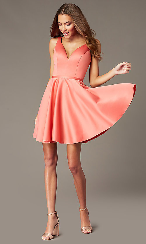 Image of coral pink short homecoming dress with pockets. Style: FB-GS2854 Detail Image 1