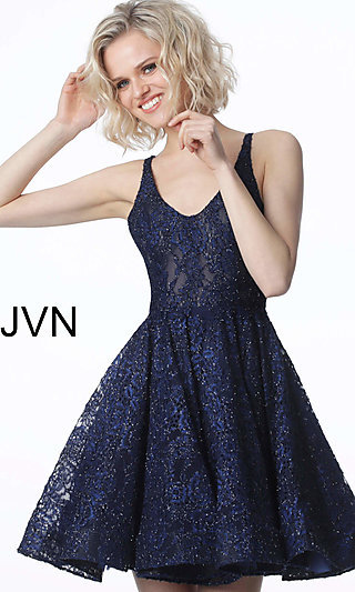 6eee5cd05549d5 Short Embroidered Lace Scoop-Neck Homecoming Dress