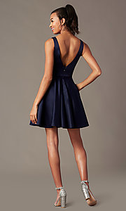 Image of navy blue short homecoming party dress by PromGirl. Style: FB-PL-GS2854 Back Image