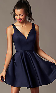 Image of navy blue short homecoming party dress by PromGirl. Style: FB-PL-GS2854 Detail Image 1