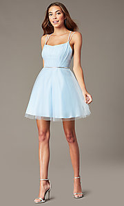 Image of short pleated-bodice homecoming dress by PromGirl. Style: FB-PL-GS2867 Detail Image 1