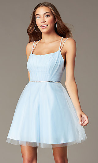 Short Pleated-Bodice Homecoming Dress by PromGirl