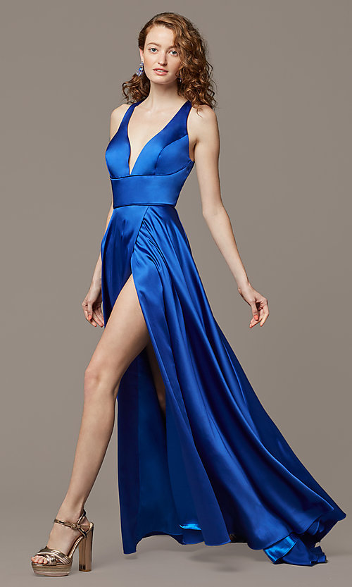 Image of cut-out-back long formal prom dress with side slit. Style: DJ-A7454-v Detail Image 1