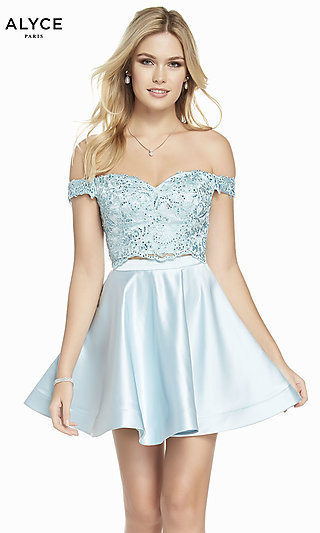 Short Two-Piece Off-the-Shoulder Homecoming Dress