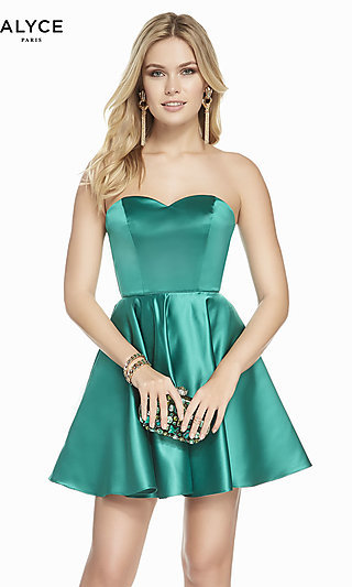 Classic Satin Fit-and-Flare Homecoming Dress