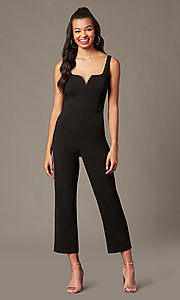 Image of v-neck black holiday party jumpsuit. Style: EM-ABC-3405-001 Front Image