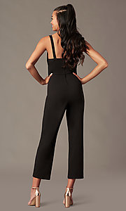 Image of v-neck black holiday party jumpsuit. Style: EM-ABC-3405-001 Back Image