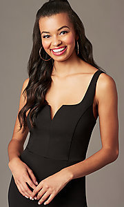 Image of v-neck black holiday party jumpsuit. Style: EM-ABC-3405-001 Detail Image 2