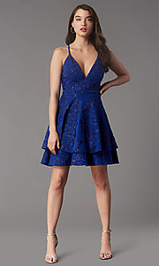 Image of short tiered homecoming party dress with lace back. Style: EM-FQP-4283-420 Front Image