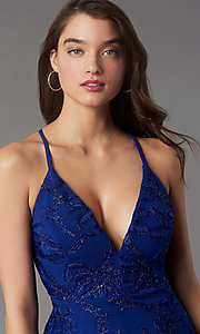 Image of short tiered homecoming party dress with lace back. Style: EM-FQP-4283-420 Detail Image 1
