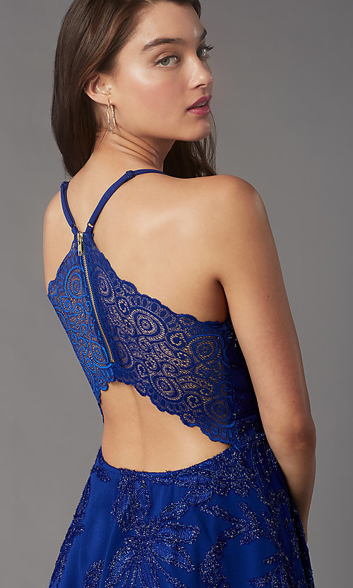 Image of short tiered homecoming party dress with lace back. Style: EM-FQP-4283-420 Detail Image 2