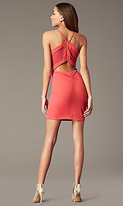 Image of short sherbet pink v-neck homecoming party dress. Style: EM-FRI-3405-830 Back Image