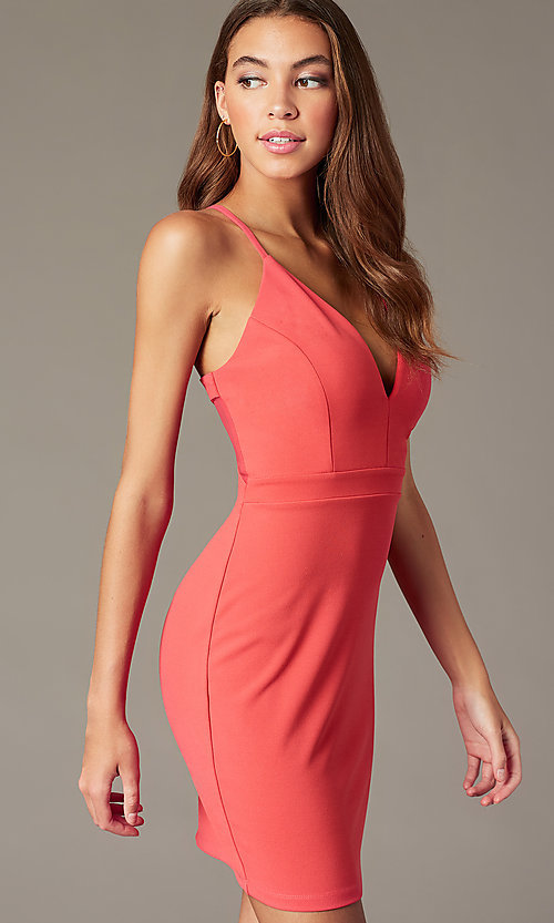 Image of short sherbet pink v-neck homecoming party dress. Style: EM-FRI-3405-830 Detail Image 1