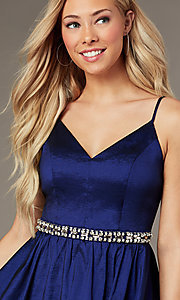 Image of v-neck short royal blue homecoming dress. Style: EM-HBO-3870-420 Detail Image 1