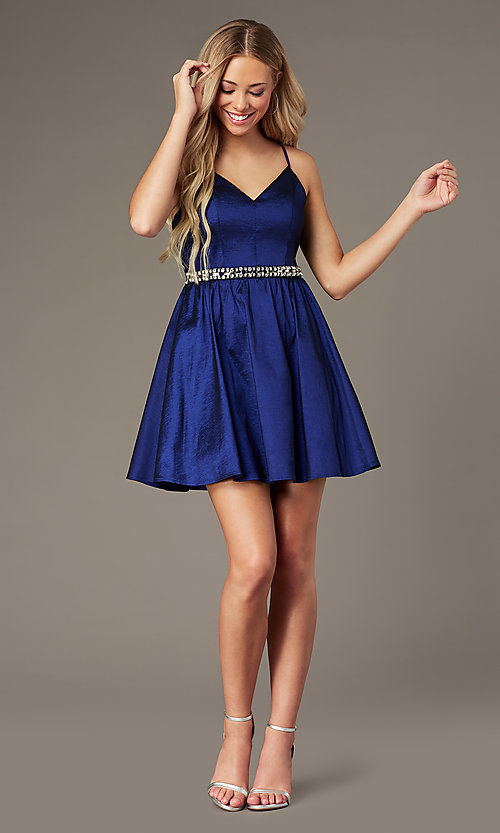 Image of v-neck short royal blue homecoming dress. Style: EM-HBO-3870-420 Front Image