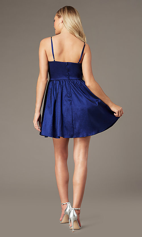 Image of v-neck short royal blue homecoming dress. Style: EM-HBO-3870-420 Back Image