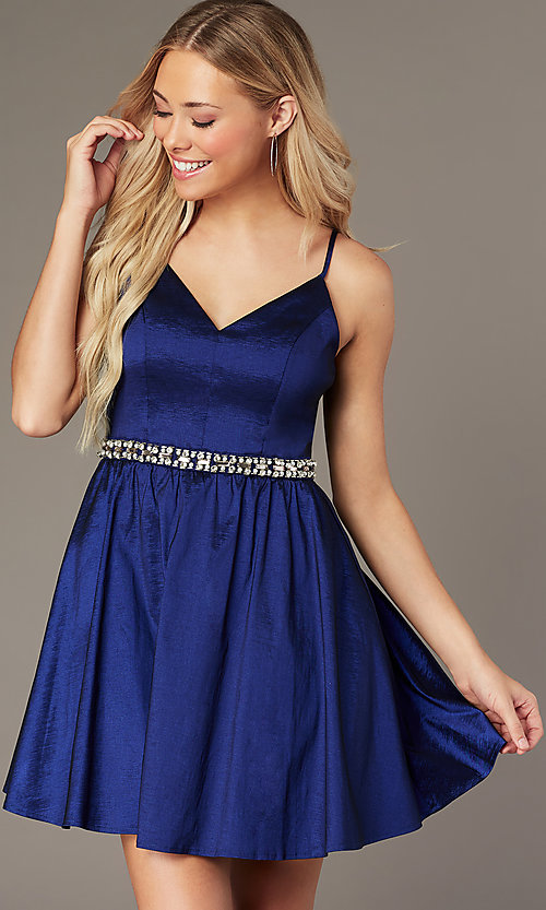Image of v-neck short royal blue homecoming dress. Style: EM-HBO-3870-420 Detail Image 2