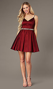 Image of wine red short v-neck homecoming dress. Style: EM-HBO-3870-550 Front Image