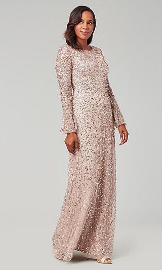 Cameo Pink Sequin Long-Sleeve Formal MOB Gown