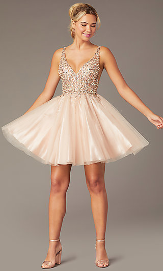 Beaded Short Homecoming Tulle Dress by PromGirl