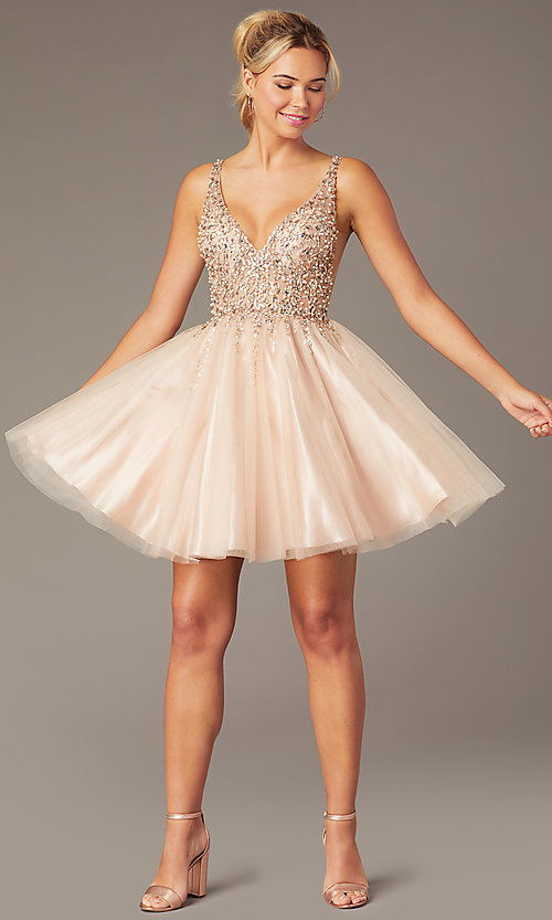 Image of beaded short homecoming tulle dress by PromGirl. Style: NA-PL-G694 Front Image