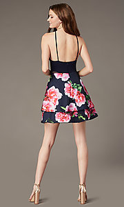 Image of PromGirl satin party dress with floral-print skirt. Style: MCR-PL-2903 Back Image