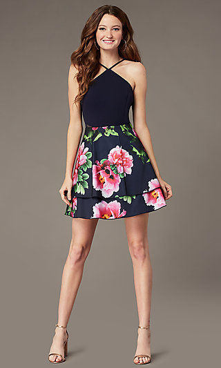 PromGirl Satin Party Dress with Floral-Print Skirt