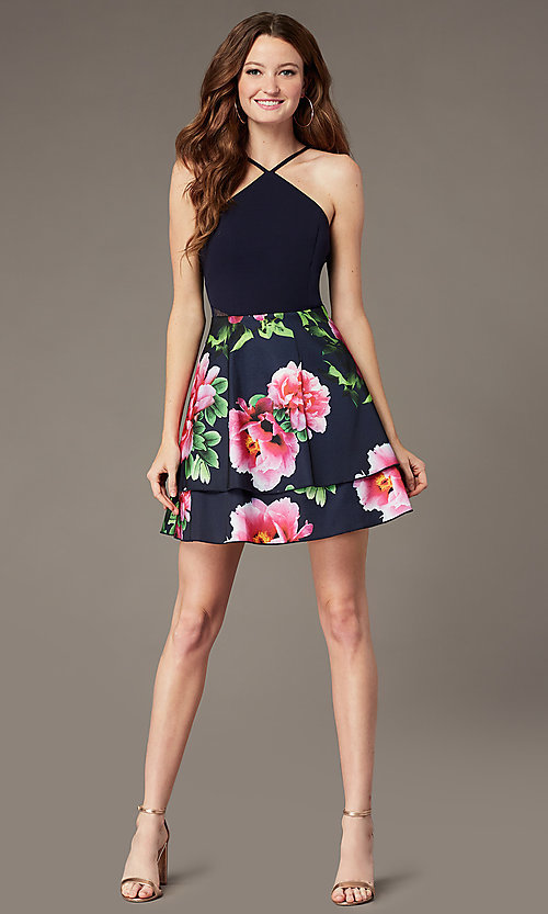 Image of PromGirl satin party dress with floral-print skirt. Style: MCR-PL-2903 Detail Image 1