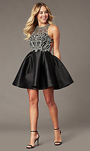 Image of sparkly short black homecoming dress with beads. Style: BL-PL-220ABL Detail Image 2