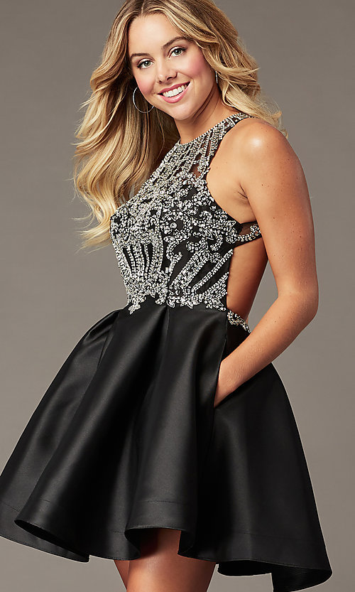 Image of sparkly short black homecoming dress with beads. Style: BL-PL-220ABL Front Image