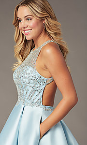 Image of sparkly ice blue short homecoming dress. Style: BL-PL-220AIB Detail Image 1
