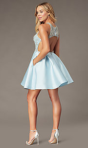 Image of sparkly ice blue short homecoming dress. Style: BL-PL-220AIB Back Image